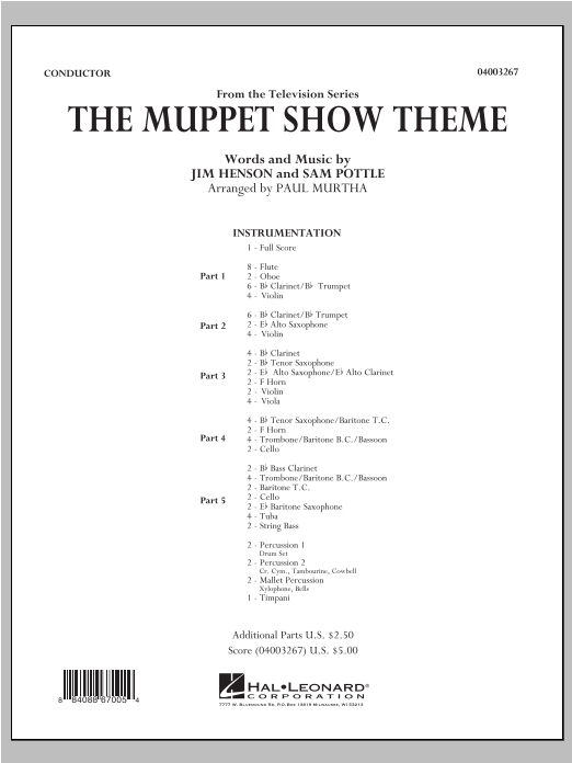 The Muppet Show Theme (COMPLETE) sheet music for concert band by Paul Murtha, Jim Henson and Sam Pottle. Score Image Preview.