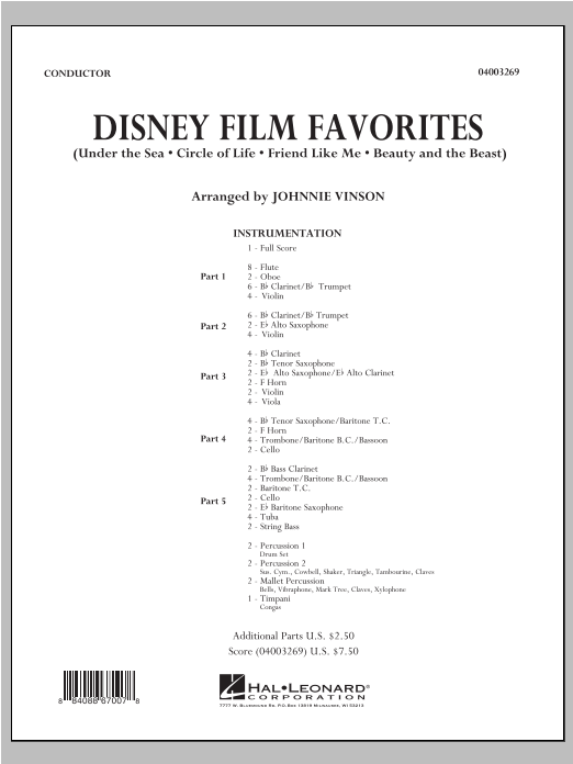 Disney Film Favorites (COMPLETE) sheet music for concert band by Johnnie Vinson. Score Image Preview.
