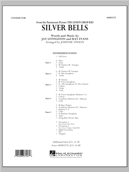 Silver Bells (COMPLETE) sheet music for concert band (orchestra) by Johnnie Vinson, Jay Livingston and Ray Evans. Score Image Preview.