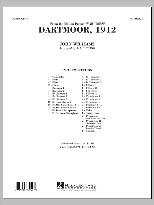 Dartmoor, 1912 (from War Horse) (COMPLETE) sheet music for concert band by Jay Bocook and John Williams. Score Image Preview.