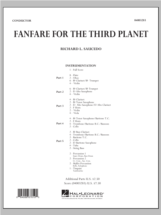 Fanfare For The Third Planet (COMPLETE) sheet music for concert band by Richard L. Saucedo. Score Image Preview.
