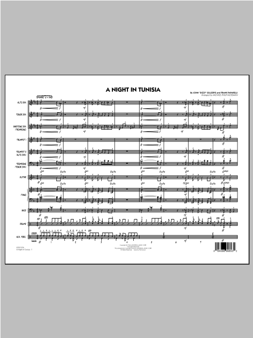 A Night In Tunisia (COMPLETE) sheet music for jazz band ( Ensemble) by Michael Philip Mossman. Score Image Preview.