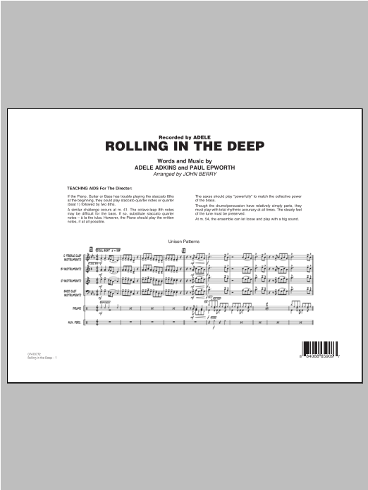 Rolling In The Deep (COMPLETE) sheet music for jazz band ( Ensemble) by John Berry, Adele, Adele Adkins and Paul Epworth. Score Image Preview.