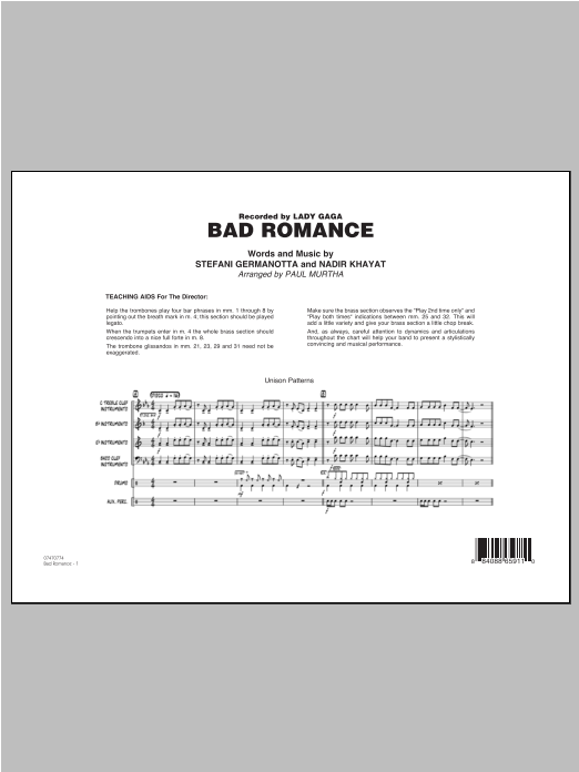 Bad Romance (COMPLETE) sheet music for jazz band by Paul Murtha, Lady Gaga and Nadir Khayat. Score Image Preview.