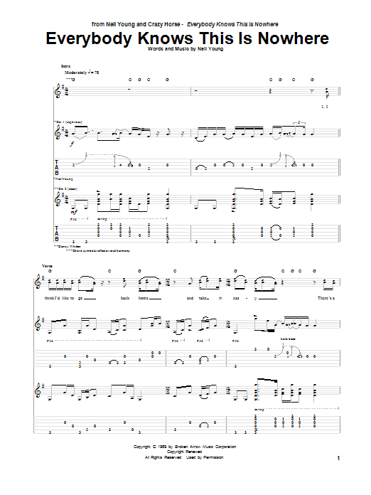 Everybody Knows This Is Nowhere Sheet Music