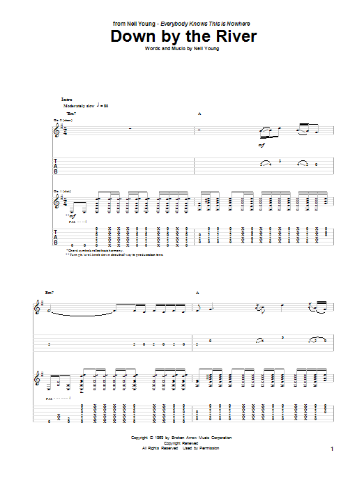 Down By The River (Guitar Tab)