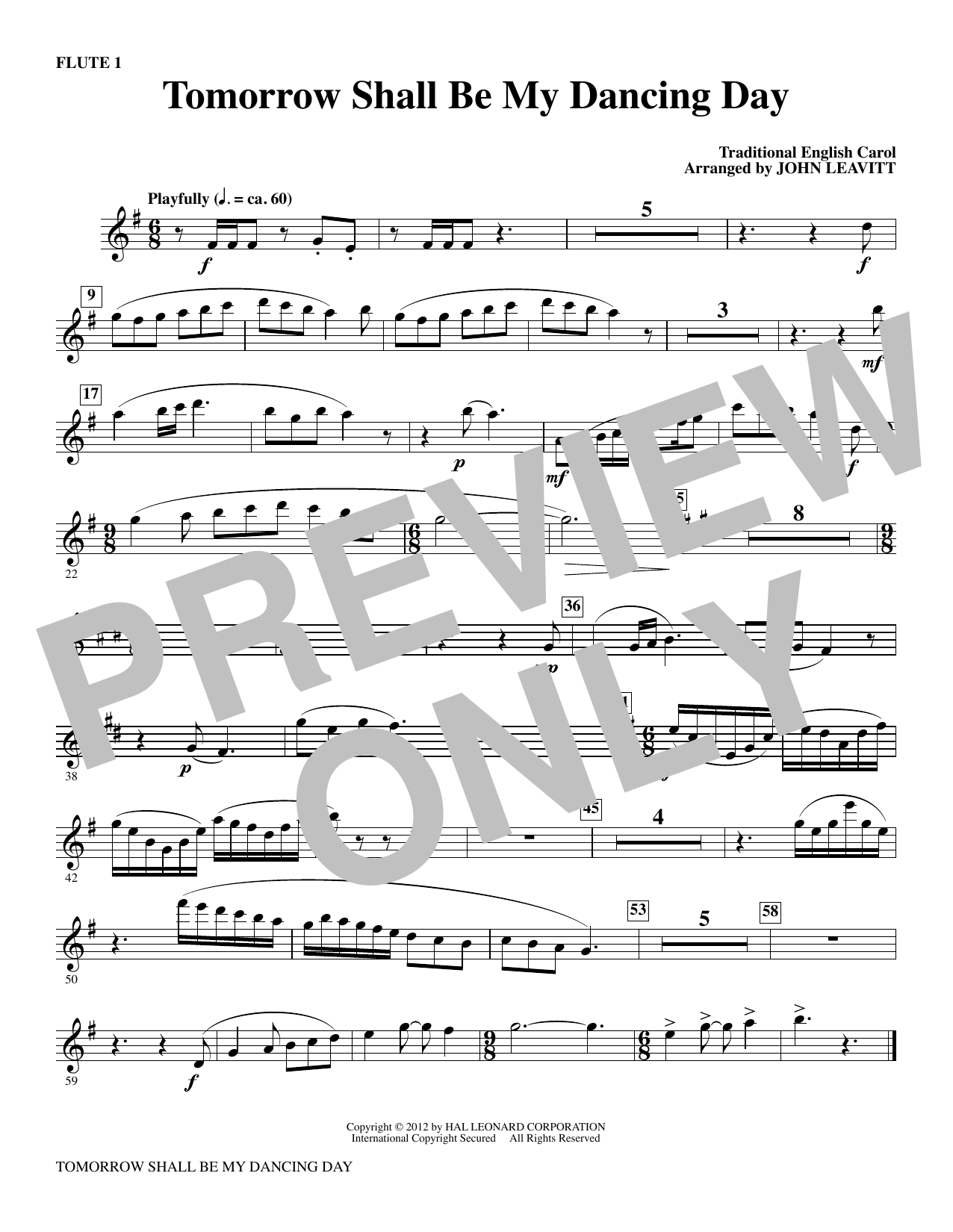 Tomorrow Shall Be My Dancing Day - Flute 1 Sheet Music