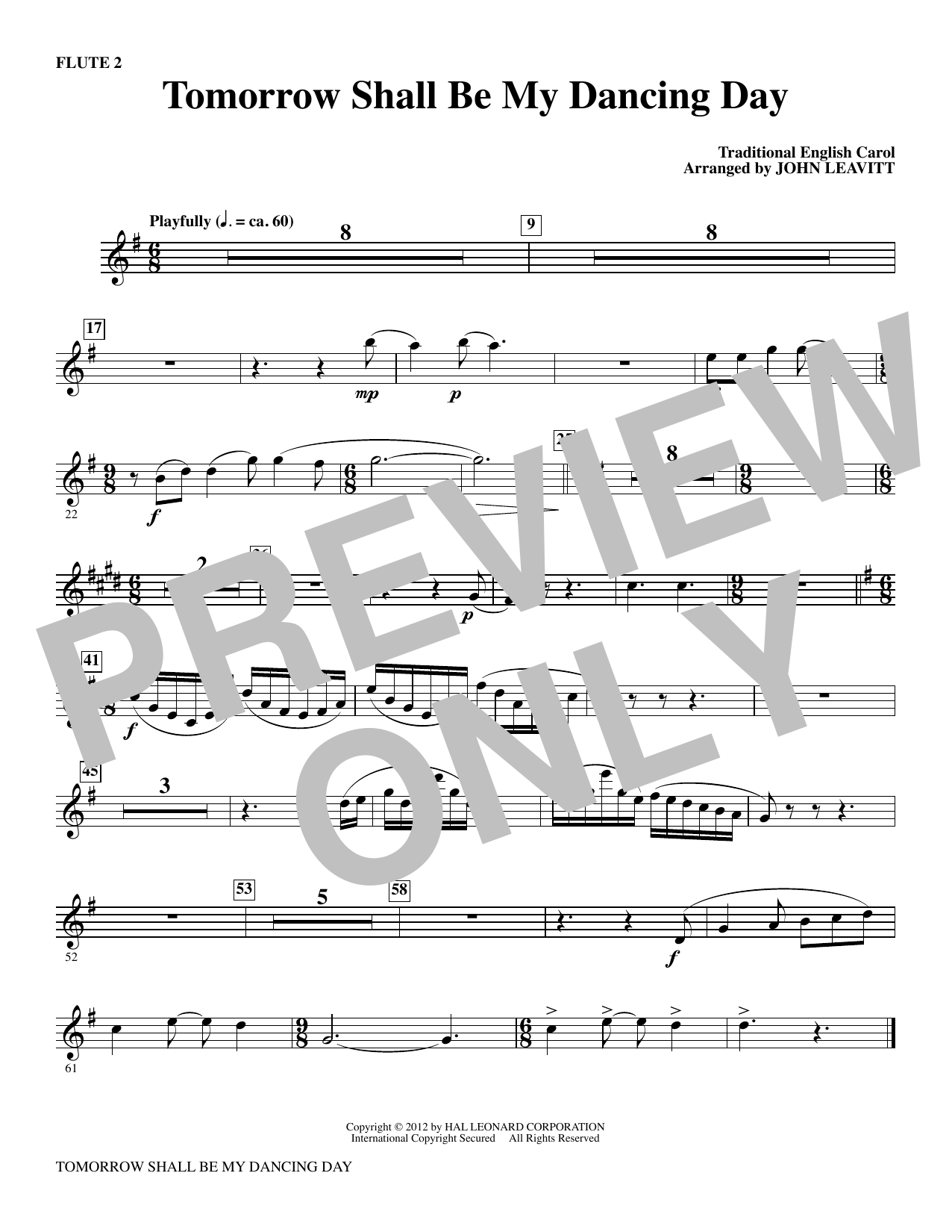 Tomorrow Shall Be My Dancing Day - Flute 2 Sheet Music