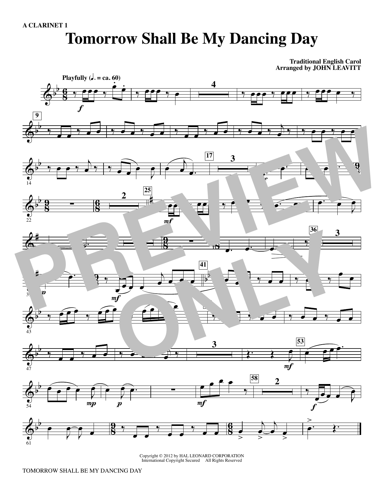 Tomorrow Shall Be My Dancing Day - A Clarinet 1 Sheet Music