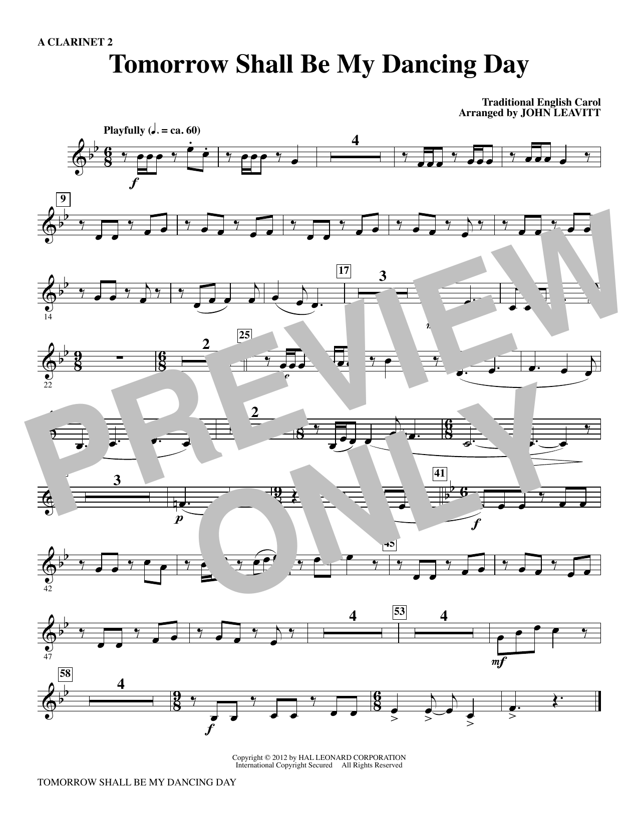 Tomorrow Shall Be My Dancing Day - A Clarinet 2 Sheet Music
