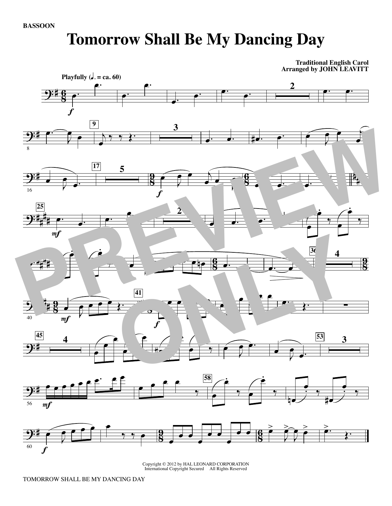 Tomorrow Shall Be My Dancing Day - Bassoon Sheet Music