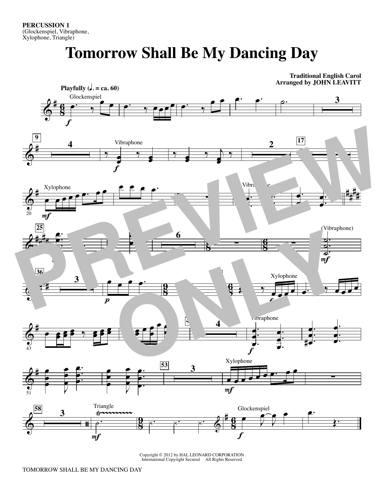 Tomorrow Shall Be My Dancing Day - Percussion 1 Sheet Music