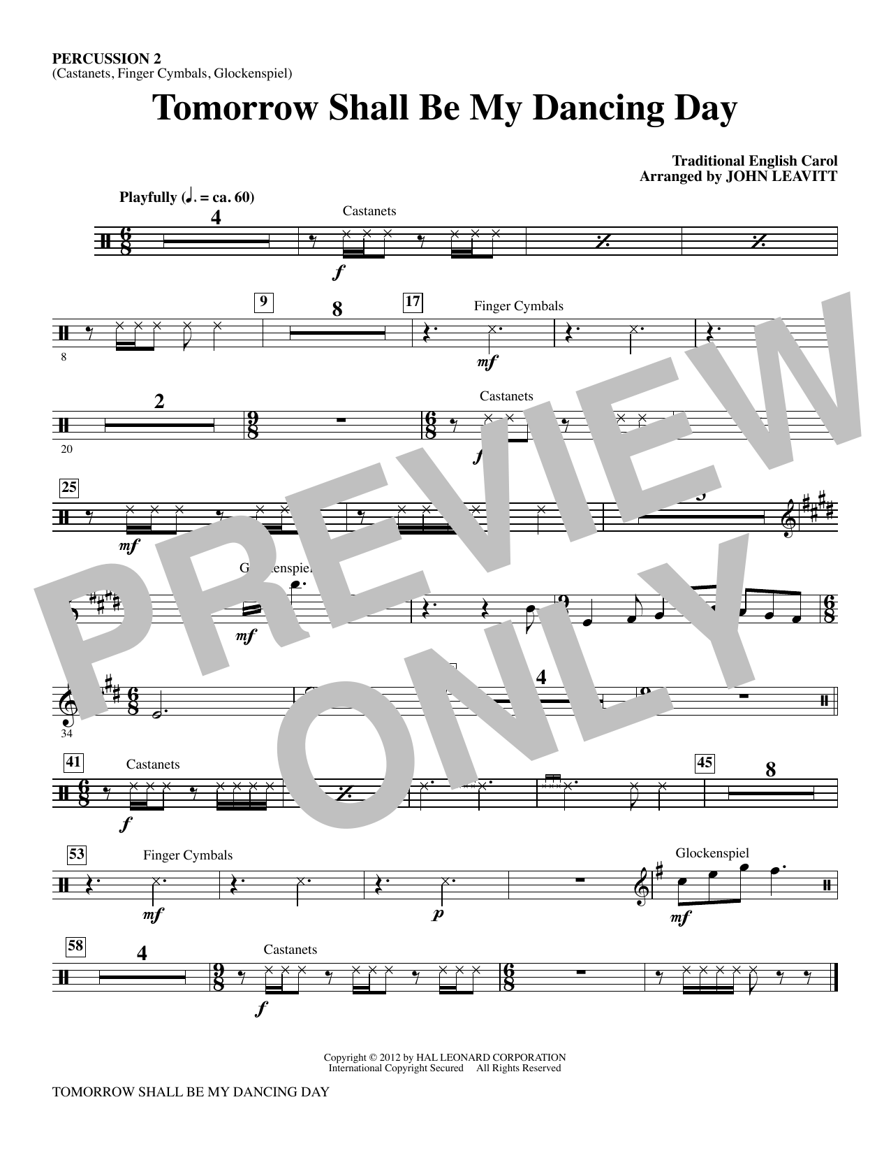 Tomorrow Shall Be My Dancing Day - Percussion 2 Sheet Music
