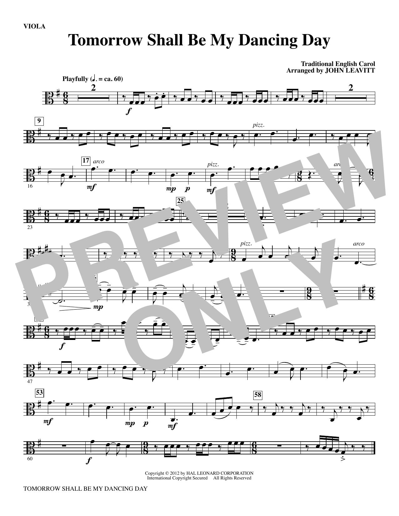 Tomorrow Shall Be My Dancing Day - Viola Sheet Music