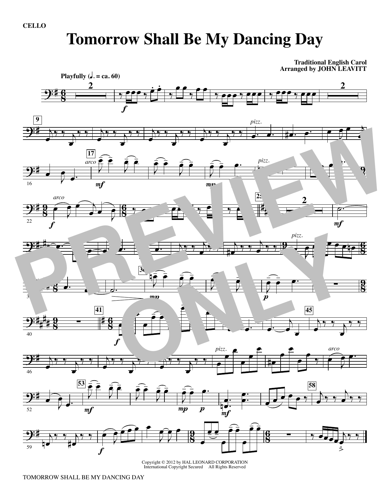 Tomorrow Shall Be My Dancing Day - Cello Sheet Music