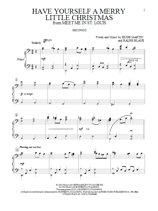 Partition piano Have Yourself A Merry Little Christmas de Ralph Blane - 4 mains