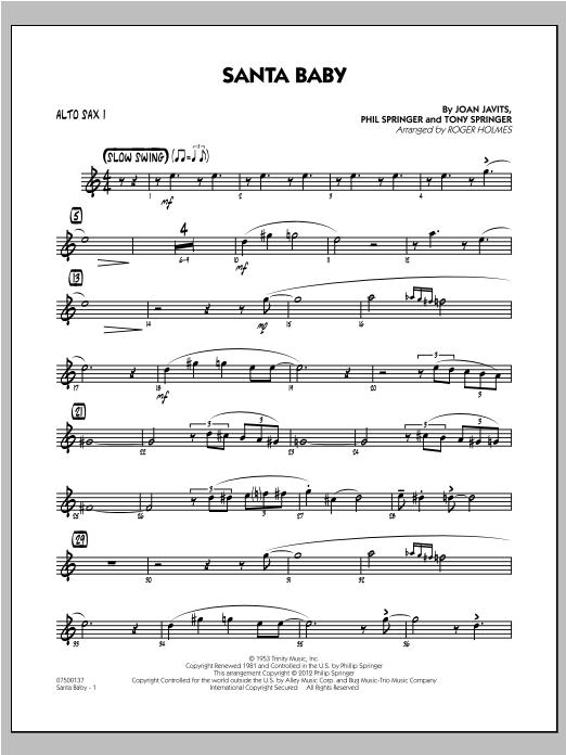 Santa Baby - Alto Sax 1 Sheet Music