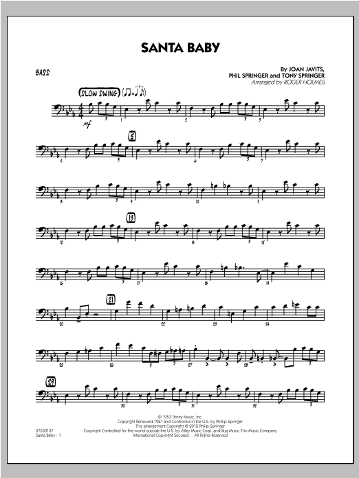 Santa Baby - Bass (Jazz Ensemble)