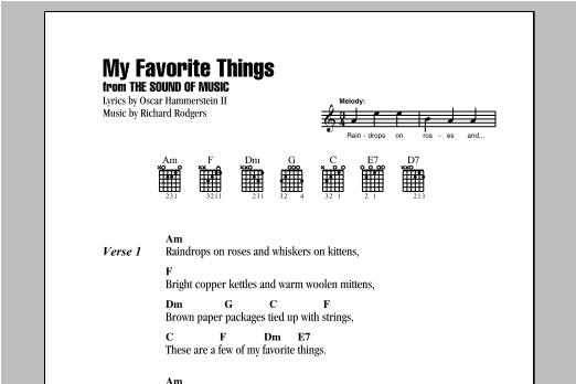 My Favorite Things Sheet Music Rodgers Hammerstein Lyrics Chords
