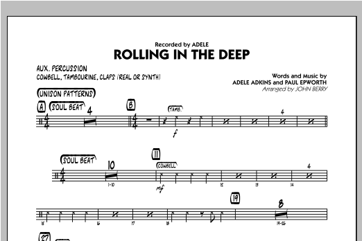 Rolling In The Deep - Aux Percussion Sheet Music