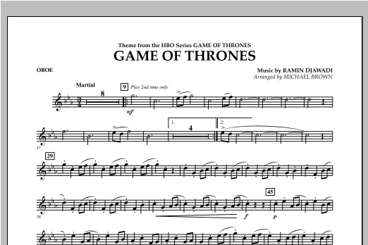 Game Of Thrones - Oboe Sheet Music