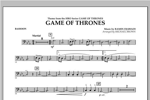 Game Of Thrones - Bassoon Sheet Music