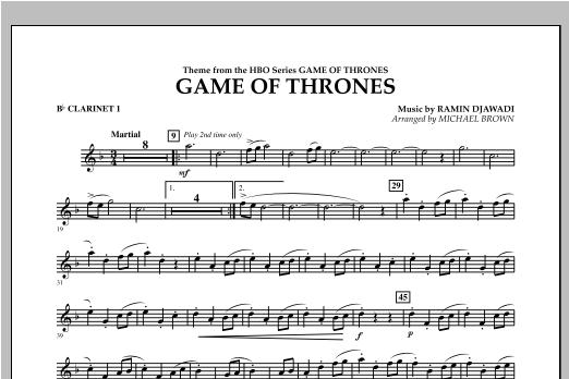 Game Of Thrones - Bb Clarinet 1 Sheet Music