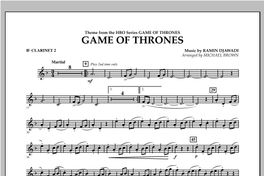 Game Of Thrones - Bb Clarinet 2 Sheet Music