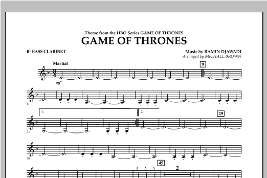 Game Of Thrones - Bb Bass Clarinet Sheet Music