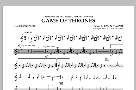 Game Of Thrones - Eb Alto Saxophone Sheet Music