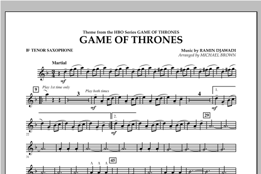 Game Of Thrones - Bb Tenor Saxophone Sheet Music