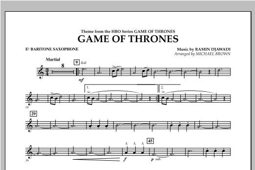 Game Of Thrones - Eb Baritone Saxophone Sheet Music