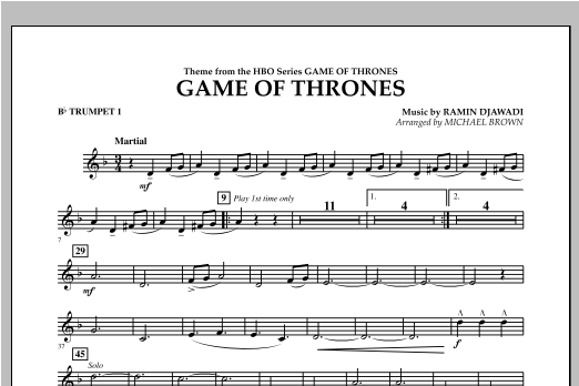 Game Of Thrones - Bb Trumpet 1 Sheet Music