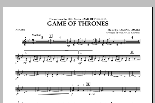 Game Of Thrones - F Horn Sheet Music