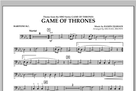 Game Of Thrones - Baritone B.C. Sheet Music