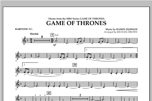 Game Of Thrones - Baritone T.C. Sheet Music