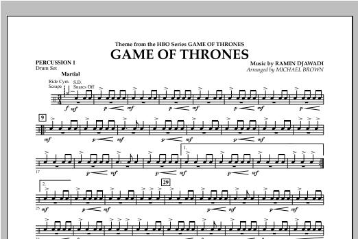 Game Of Thrones - Percussion 1 Sheet Music
