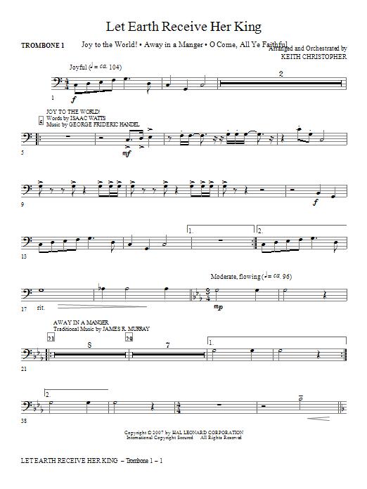 Let Earth Receive Her King - Trombone 1 Sheet Music