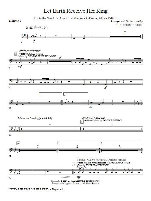 Let Earth Receive Her King - Timpani Sheet Music