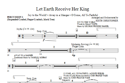 Let Earth Receive Her King - Percussion 1 Sheet Music