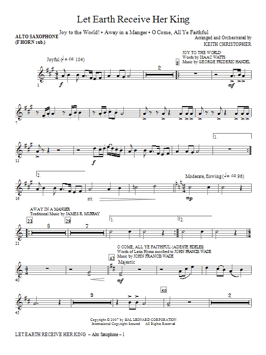 Let Earth Receive Her King - Alto Sax (sub. Horn) Sheet Music