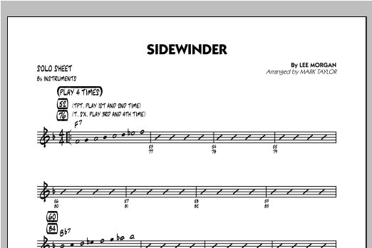 Sidewinder - Bb Solo Sheet Sheet Music