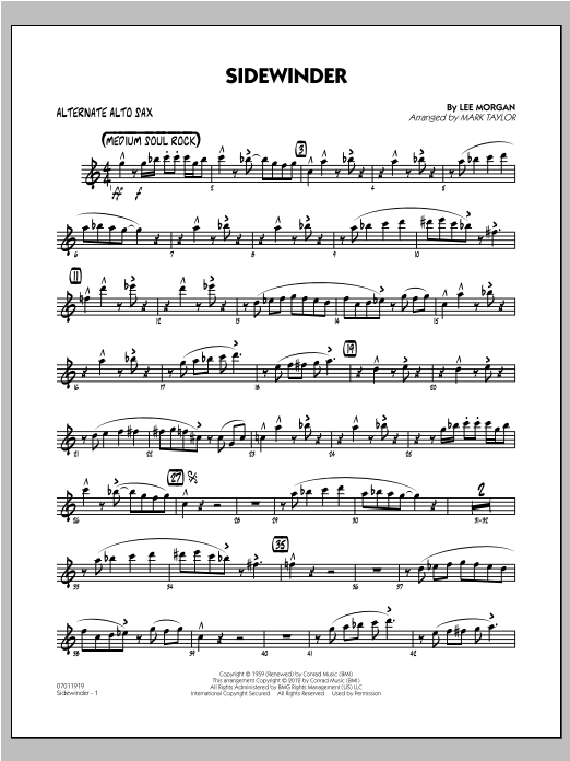 Sidewinder - Alternate Alto Sax Sheet Music