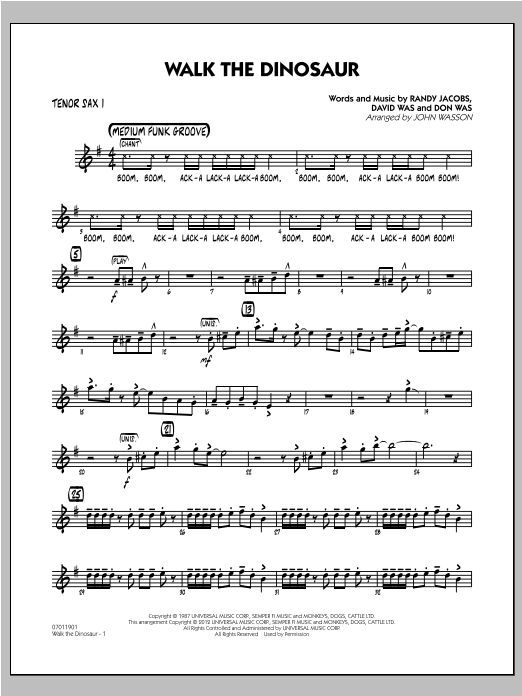 Walk The Dinosaur - Tenor Sax 1 Sheet Music