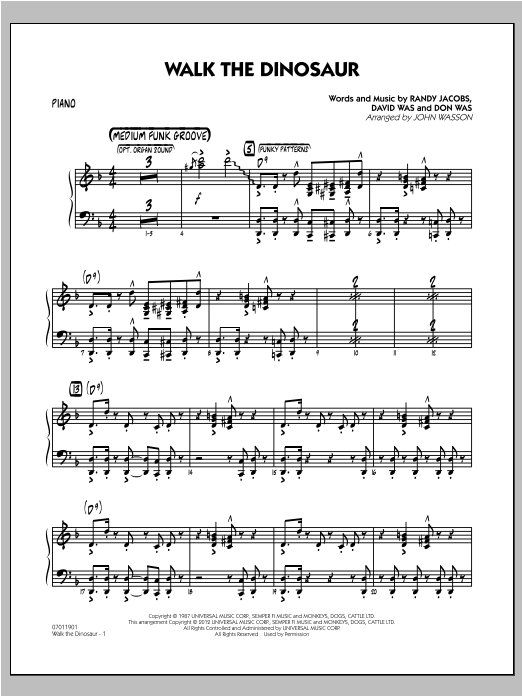 Walk The Dinosaur - Piano Sheet Music