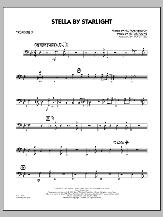 Stella By Starlight - Trombone 3 Sheet Music