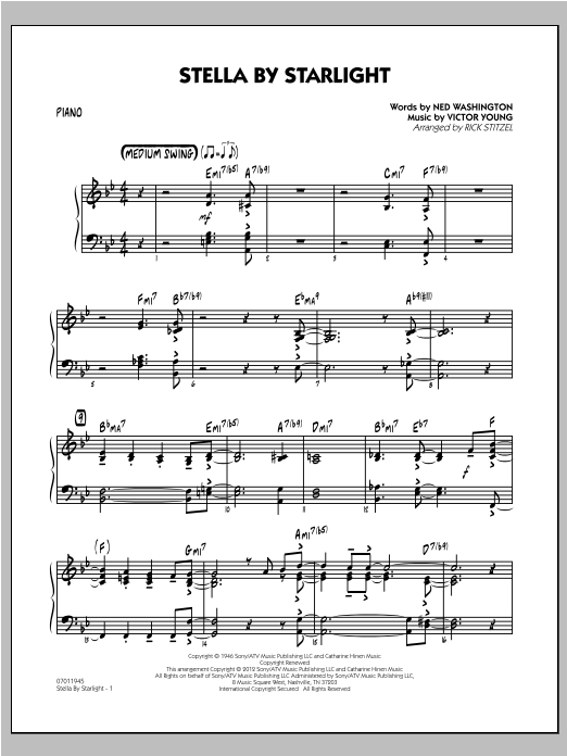 Stella By Starlight - Piano Sheet Music