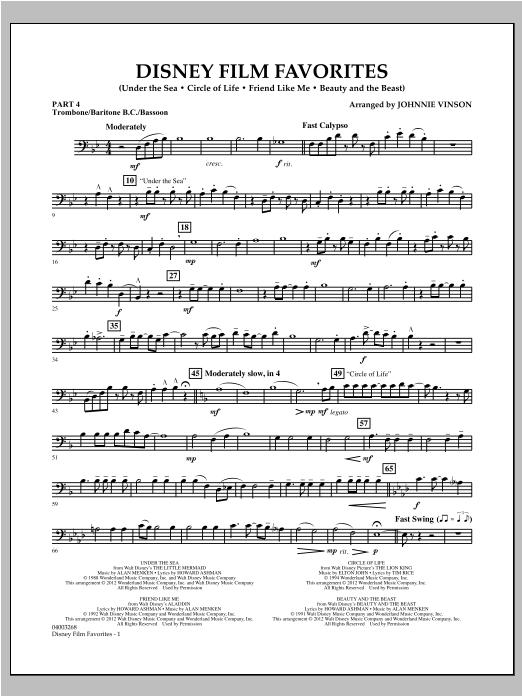 Disney Film Favorites - Pt.4 - Trombone/Bar. B.C./Bsn. Sheet Music