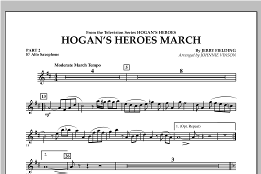 Hogan's Heroes March - Pt.2 - Eb Alto Saxophone Sheet Music