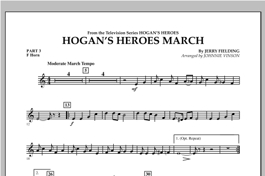 Hogan's Heroes March - Pt.3 - F Horn Sheet Music